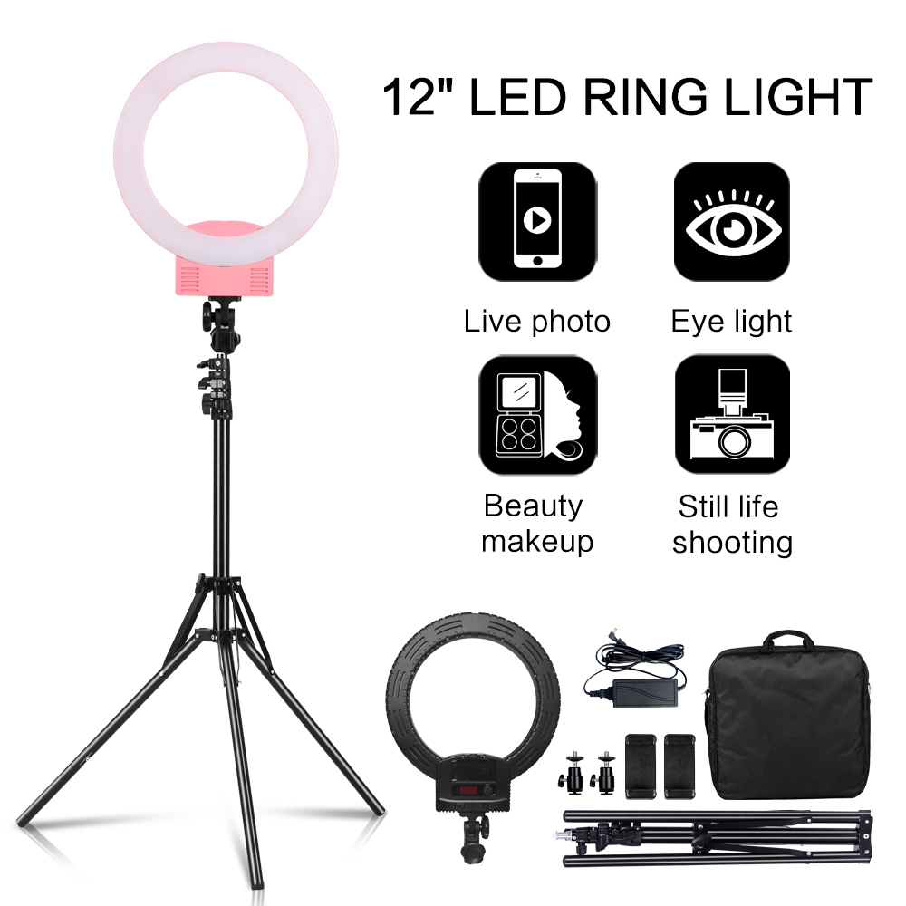 Photography 12inch Portable LED Ring Light With Tripod Stand 3200  5600K For YouTube Video Shooting, Live Streaming, Selfie,  VlogPhotographic Lighting