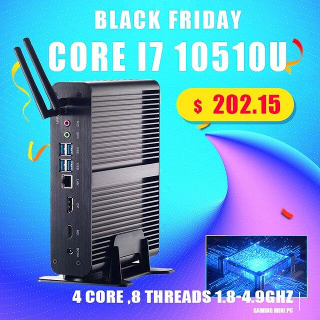 Fanless Mini PC Intel Core i7 10510U/8565U i5 8265U/7260U M.2Msata+2.5 SATA Computer HTPC Nettop Nuc VGA DP HDMI VESA Bracket