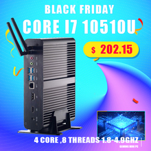 Quạt Không Cánh Mini PC Intel Core I7 10510U/8565U I5 8265U/7260U M.2Msata + 2.5 SATA Máy Tính HTPC nettop Nuc VGA DP HDMI Chuẩn VESA Chân Đế