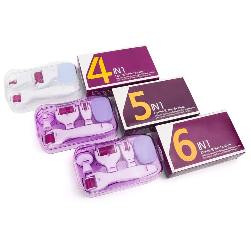 Microneedle Derma Roller Kit For Face 300/720/1200Titanium Derma Roller Micro Needle Facial Roller Skin Microdermabrasion Rollor