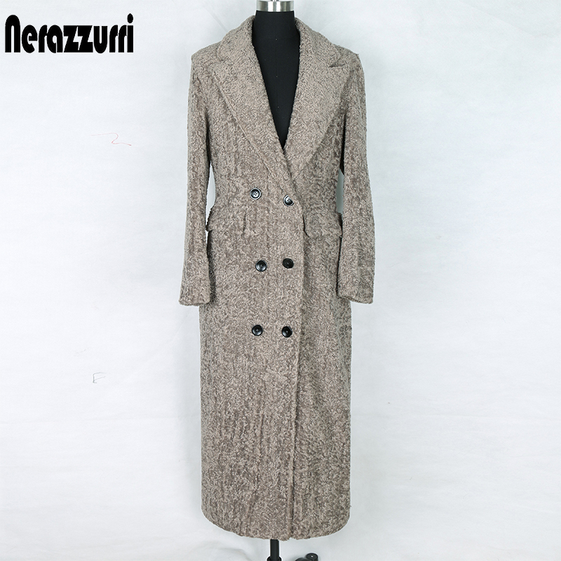 Nerazzurrri Long Winter Faux Fur Coat Women Big Size 5xl 6xl 7xl Double Breasted Long Sleeve Peaked Lapel Fake Sheep Fur Blazer