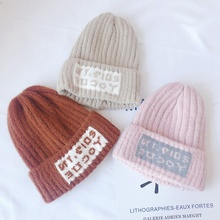 3-12T Baby Plush Hat Toddler Girl Boy Winter Warm Letter Printed Elastic Hats Cap Cute Soft Hair Accessories #m