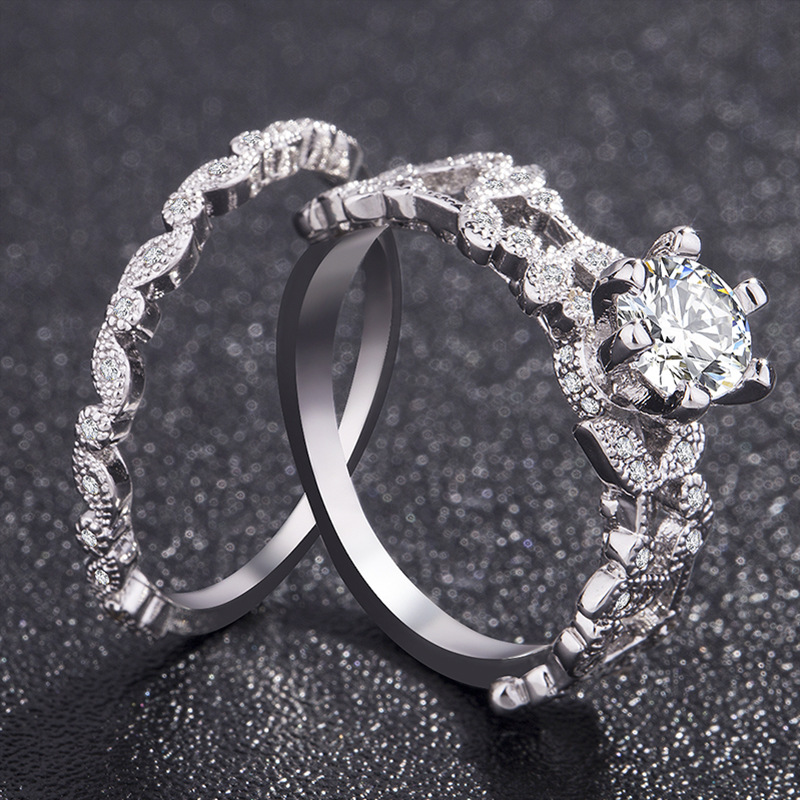 Simple Double-line Geometric Ring Crystal Zircon Open Rings Women Jewelry Gift