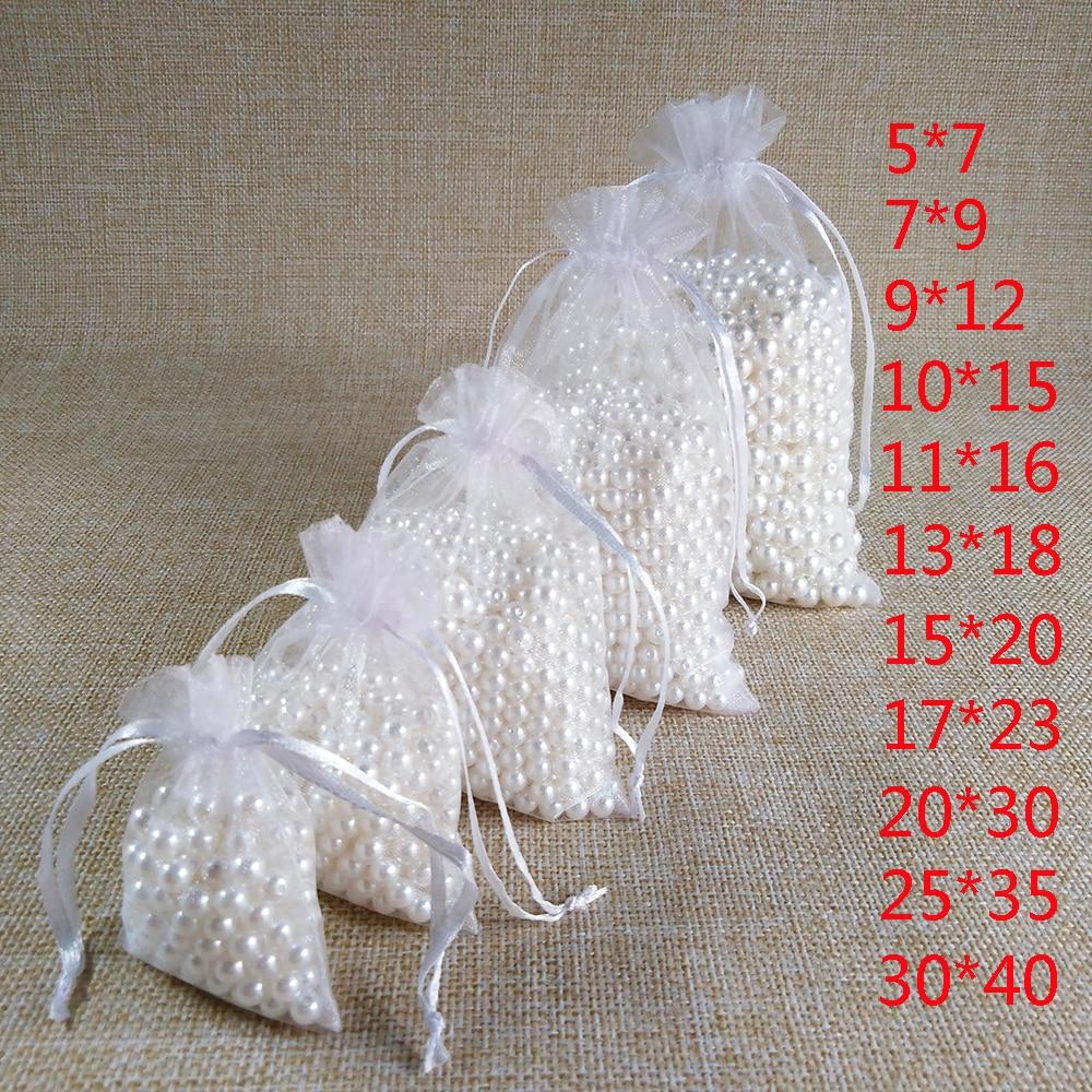 100 шт. 5 * 7 7x9 9x12 10x15 13x18 15x20 17 * 23 20 * 30 25 * 35 30 * 40 СМ Белые подарочные пакеты из органзы Сумки для упаковки ювелирных изделий Свадьба Украшение Drawable ...