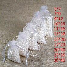 100pcs 5 * 7 7x9 9x12 10x15 13x18 15x20 17 * 23 20 * 30 25 * 35 30 * 40CM Blanc Cadeaux Sacs en Organza Bijoux Emballages Sacs Emballages Bijoux Décoration de Noel Décorations