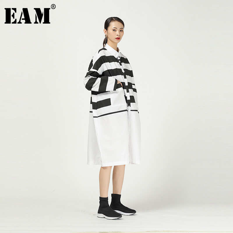[EAM] Women Black Striped Split Big Size Shirt Dress New Lapel Long Sleeve Loose Fit Fashion Tide Spring Autumn 2020 1R288