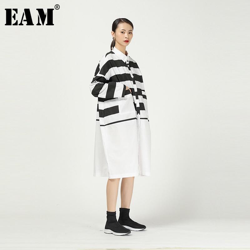[EAM] Women Black Striped Split Big Size Shirt Dress New Lapel Long Sleeve Loose Fit Fashion Tide Spring Autumn 2020 1R288