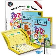 2 + книги + многоразовые + тетрадь + для + каллиграфии + обучения + алфавита ++ арифметики + математики + детей + почерка + практики + книг + ребенка + игрушки + 21x27 см