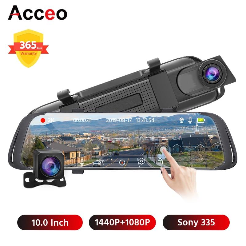 Acceo X4 Car Mirror Dvr 10 Inch RearView Mirror 2K Quad HD Dash Camera 1440P Video Recorder With Rear View Camera Registrar Dvrs