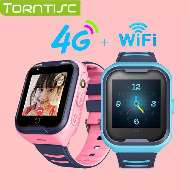 Smart watch torntisc para crianças, relógio inteligente com sistema sos, anti perda, cartão sim, 4g, gps, wifi, chamadas, localização, lbs, rastreamento