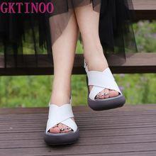 GKTINOO 2020 Summer Buckle Women's Sandals Genuine Leather Fish Mouth Fashion hi