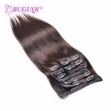 BUGUQI волосы на заколках для наращивания малазийские#2 Remy 16 до 26 дюймов 100 г волосы на заколках для наращивания