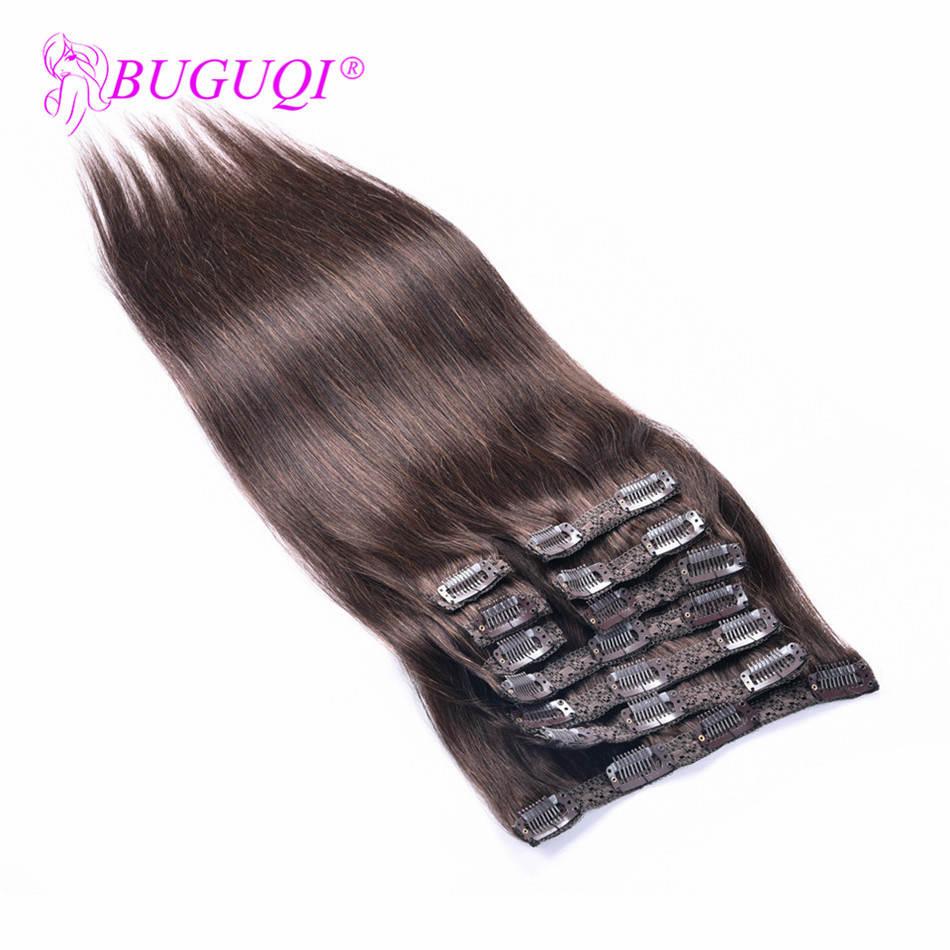 BUGUQI Hair Clip In Human Hair Extensions Malaysian #2 Remy 16 To 26 Inch 100g Machine Made Clip Human Hair Extensions