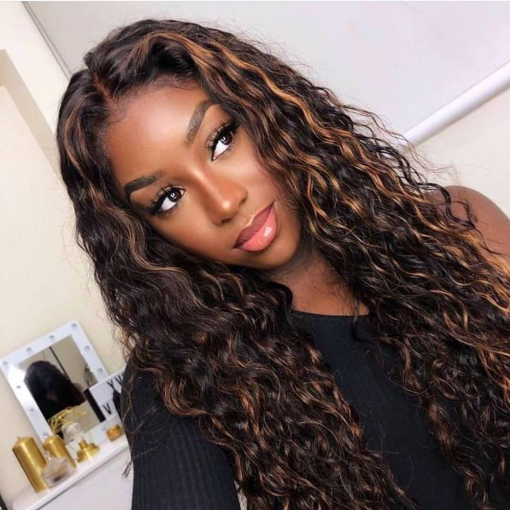 Highlight 360 Lace Frontal Human Hair Wig For Black Women Remy Hair Wig Pre Plucked Bleached Knots Baby Hair