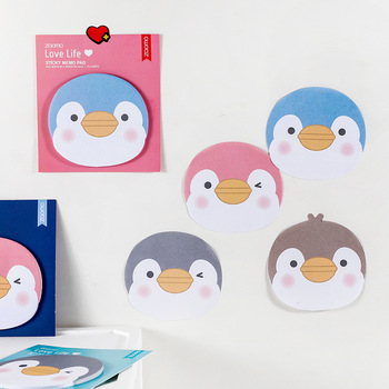 Creative Cartoon Cute Little Penguin Pattern Post-it Notes Office Learning Notes N Times Stickers Students Supplies Stationery 2pcs creative students stationery post it note with writing pad clip cartoon cute n times posted message notes