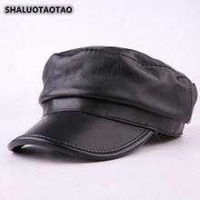 SHALUOTAOTAO  NEW Snapback Fashion Sheepskin Genuine Leather Hat Winter Thermal Military Hats For Men Women Leisure Brands Caps цена