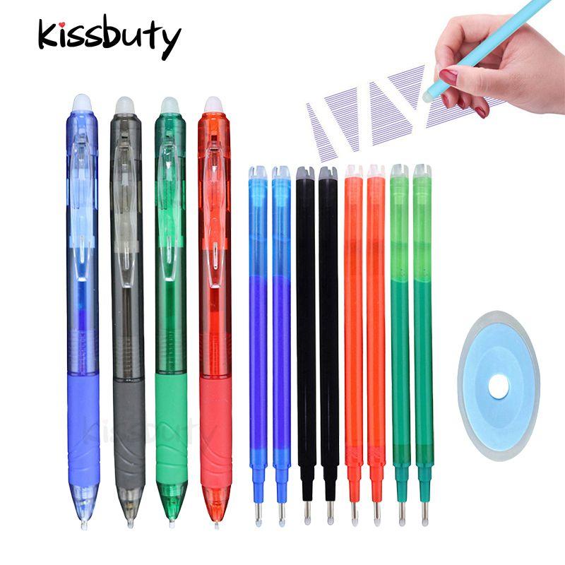 0.7mm magia caneta apagável imprensa gel caneta conjunto preto/azul/tinta papelaria haste retrátil punho lavável borracha caneta recarga haste