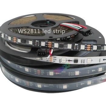 5m 30 48 60leds m 5050 smd rgb ws2811 smart pixel led strip addressable ws2811ic black white pcb 5m 30/48/60leds/m Full Color WS2811 LED Strip DC12V Black / White PCB RGB Smart Pixel control Led Strip