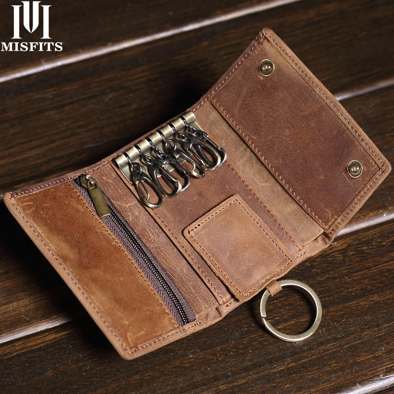 MISFITS 100% Genuine Leather Key Wallet Male Vintage Coin Purse Unisex Solid Key Men Key Holder Organizer Housekeeper Keys Bag