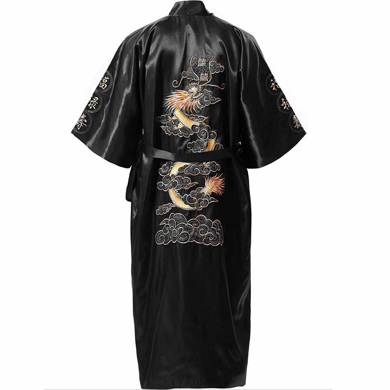 Bata de talla grande XXXL de satén de seda negra china para mujeres novedad Kimono bordado de dragón Yukata bata de baño ropa de dormir camisón A138