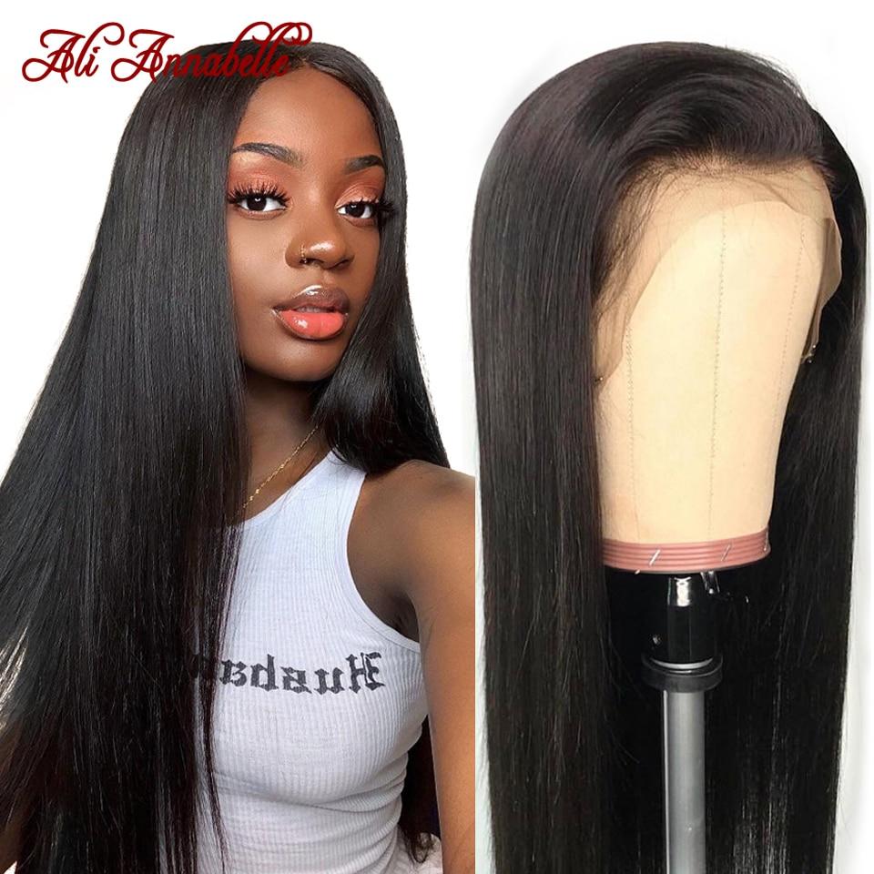 Pelucas de cabello humano con encaje Frontal liso brasileño, Ali Annabelle, 13x4, prearrancada