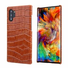 Genuine Leather Back Case For Samsung Galaxy Note 10 Plus  Cover Luxury Crocodile Pattern Phone Back Cover Cases For Note10 Case цена 2017
