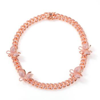 Hip-Hop Men and Women Color Micro-Set Zircon Butterfly Necklace Rose Gold Chain Cuban Crystal Miami Clavicle Necklace Gift
