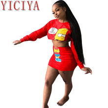 Женская короткая юбка с длинным рукавом красная принтом облегающая