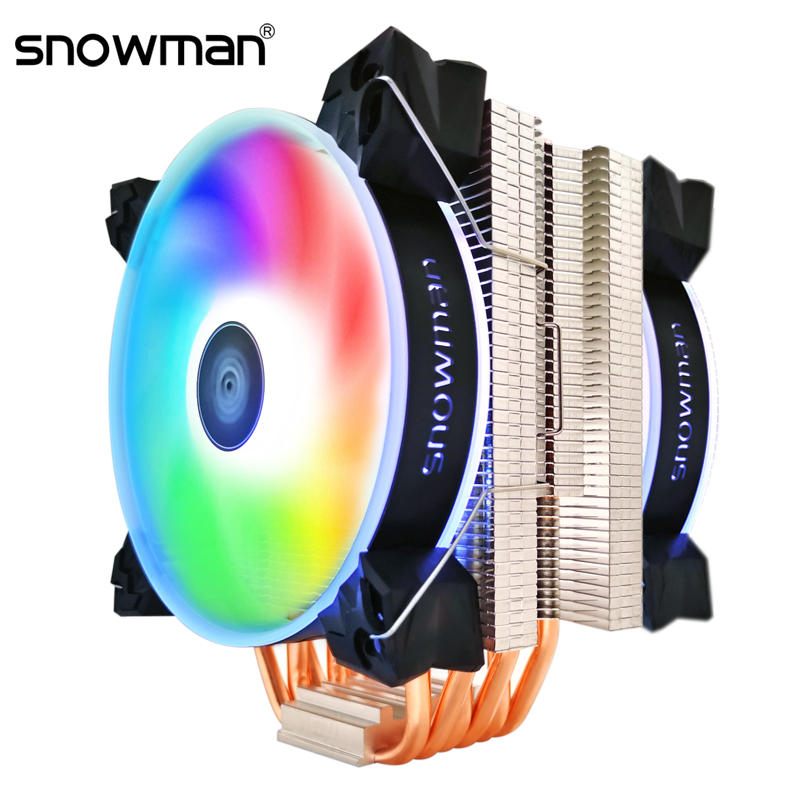 SNOWMAN 6 Heat Pipes CPU Cooler RGB 120mm PWM 4Pin for Intel LGA775 1150 1151 1155 1366 AMD AM2 AM3 AM4 CPU Cooling Fan PC quiet|Fans & Cooling| - AliExpress
