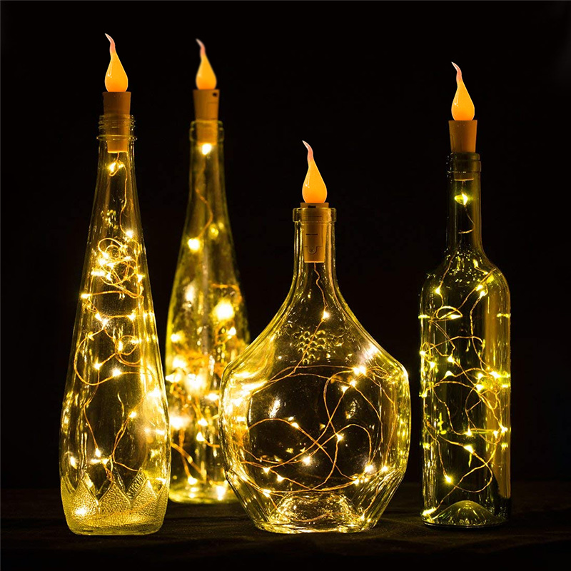 2M Silver Wire LED String Lights Cork Shaped Wine Bottle Lights With Candle Flame Fairy Garland For Christmas Party Decoration