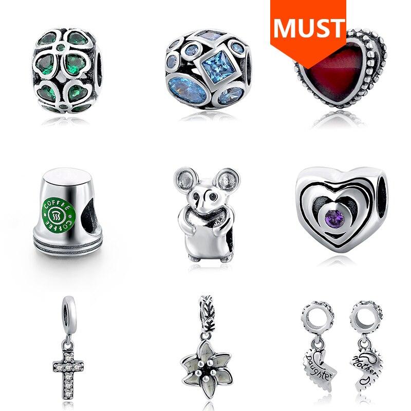 SG Nueva Llegada 925 Plata Esterlina Monkey Bird Apple Horse Beads Fit pandora Charm Bracelets Para Mujer Accesorios de joyería