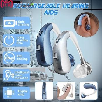Akumulator Mini cyfrowy aparat słuchowy wzmacniacze dźwięku ucho bezprzewodowe pomoce dla osób w podeszłym wieku umiarkowana do ciężkiej utraty Drop Shipping tanie i dobre opinie Laiwen VHP202S rechargeable 450~3500Hz DC 1 5V blue silver hearing aid rechargeable hearing aid digital hearing aid Support