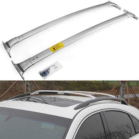 2 pces apto para nissan patrol y62 2011 2020 aluminio telhado superior ferroviario rack barras
