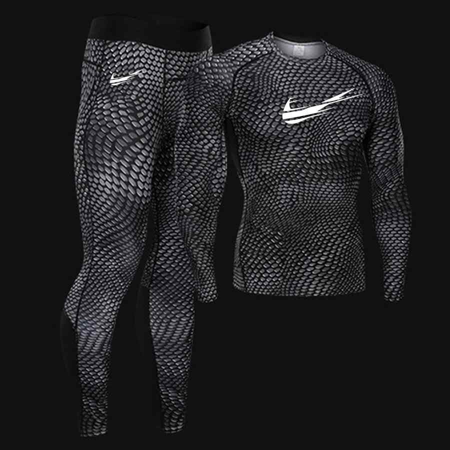 2019 MMA Men's Compression Run jogging Suits Clothes Sports Set 4XL Long t shirt And Pants Fitness workout Tights clothing