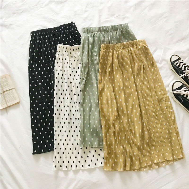 Autumn Women Long Pleated Midi Skirt Elastic Waist Polka Dot Print Lace Up Skirt