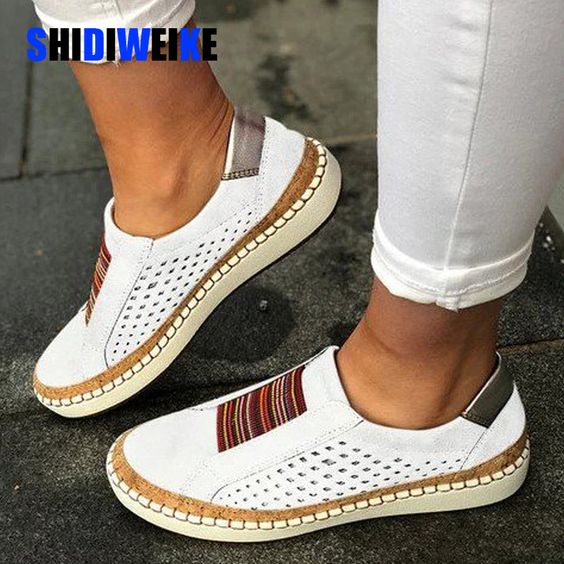 Plus Size Loafers Shoes Woman Spring 2020 Flock Leathers Casual Flat Heels Women Slip On Platform Sneakers Flats Mulher I255