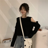 2019 Autumn New Arrival Unique Design T Shirt Hole Open Shoulder Loose Solid Color Long sleeved T shirt Female Free Shipping