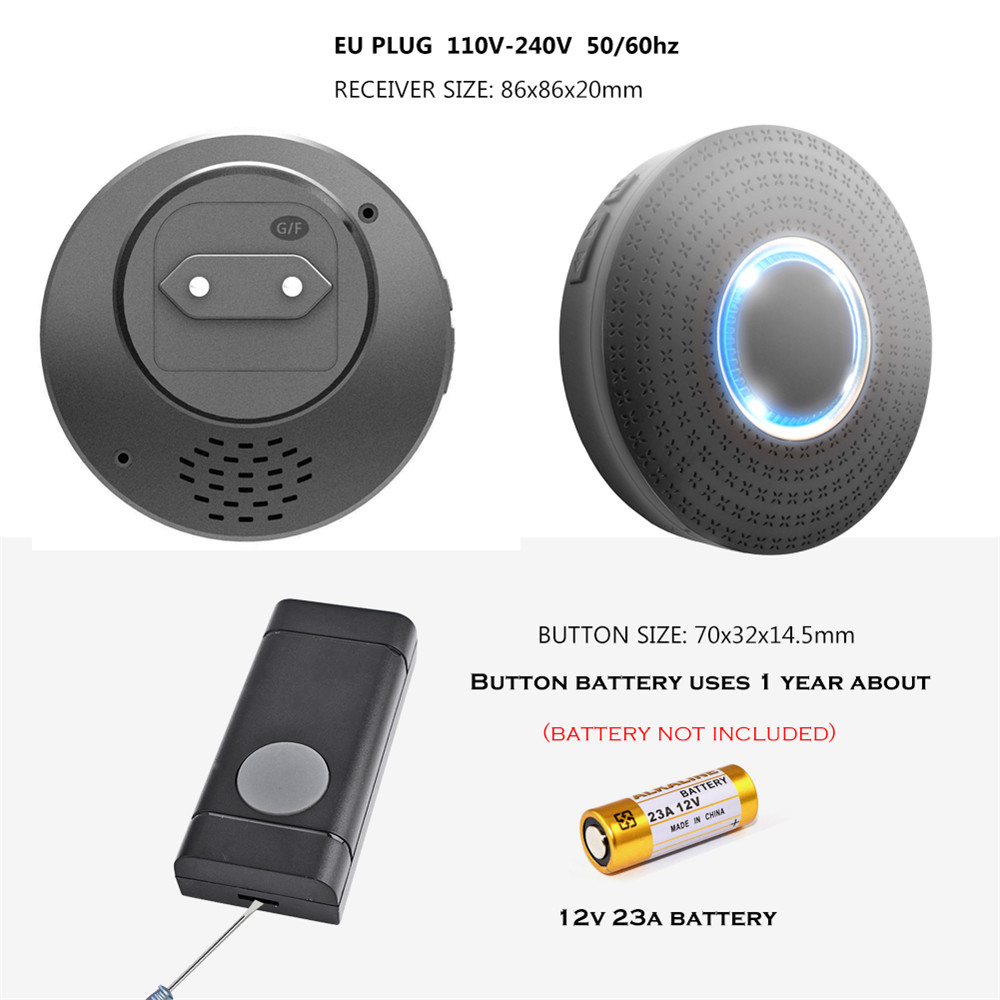SMATRUL Waterproof Wireless Doorbell EU Plug 300M Remote Home Door Bell Ring Call Chime 1 2 Button 1 2 3 Receiver LED Light Deaf