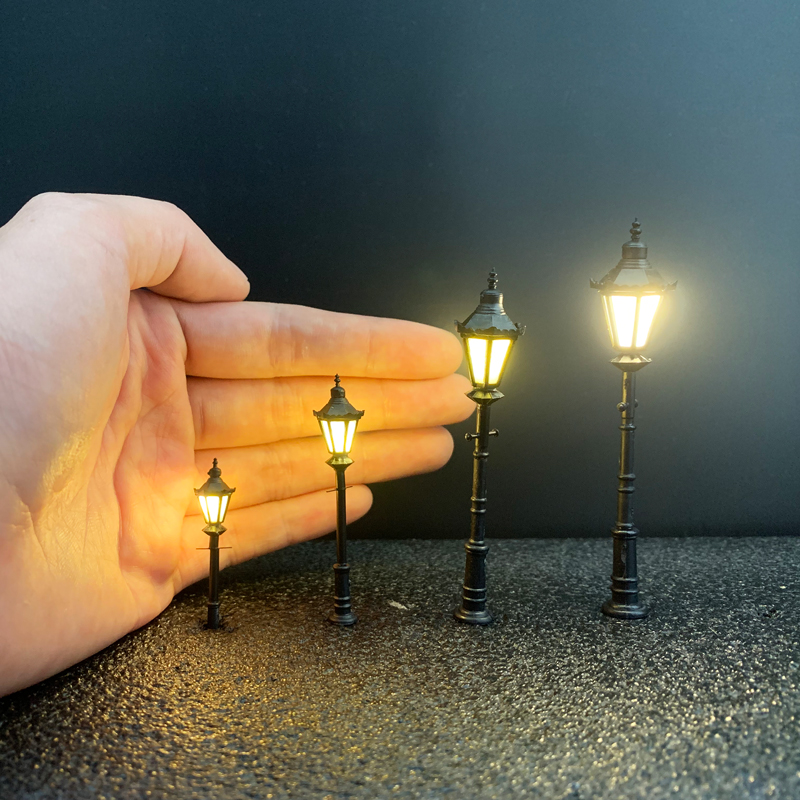3 PCS HO N O Scale Model Trains Railway Park Garden Street Light 3V Lamppost Lamps/Model Park Lamps/Train Layout