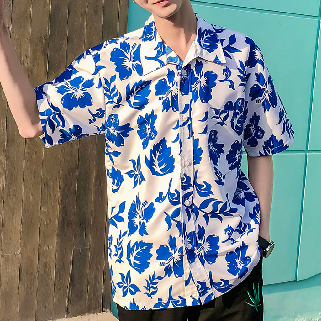 Mens Hawaiian Shirt Male Casual Camisa Masculina Printed Beach Shirts Short Sleeve Brand Clothing Asian Size  6.5