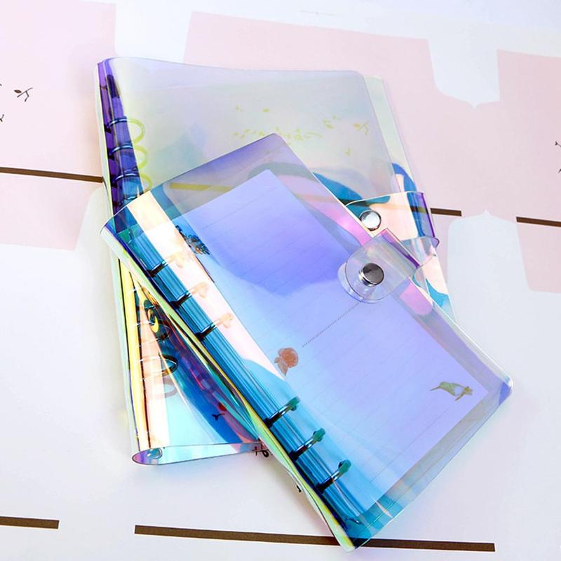 A5 A6 PVC Transparent Colorful 6-hole Binder Notebook Clips Glitter Leaf Diary Planner Loose Cover image