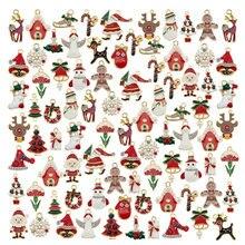 Julie Wang 25PCS Enamel Christmas Charms Mixed Alloy Santa Claus Tree Bell Hat Deer Snowman Pendant Jewelry Making Accessory
