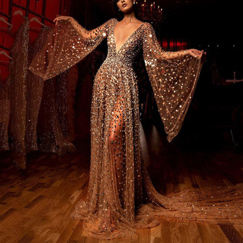 Sexy Sequin Long Formal Dress Women Gold Deep V-neck Evening Prom Party Dresses Female Ladies Elegant Long Dress Gown Vestidos evening gown dress fur mermaid party long dresses women elegant plus size 5xl v neck bodycon knitted ladies maxi formal dress