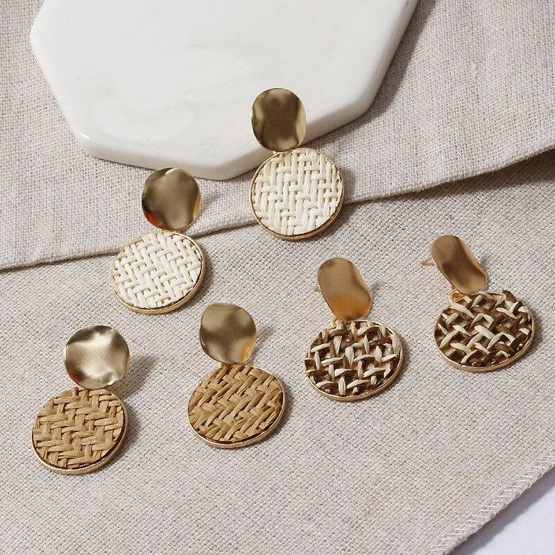 LETAPI New Korea Handmade Straw Woven Rattan Vine Braid Geometric Large Circle Square Long Drop Earrings For Women