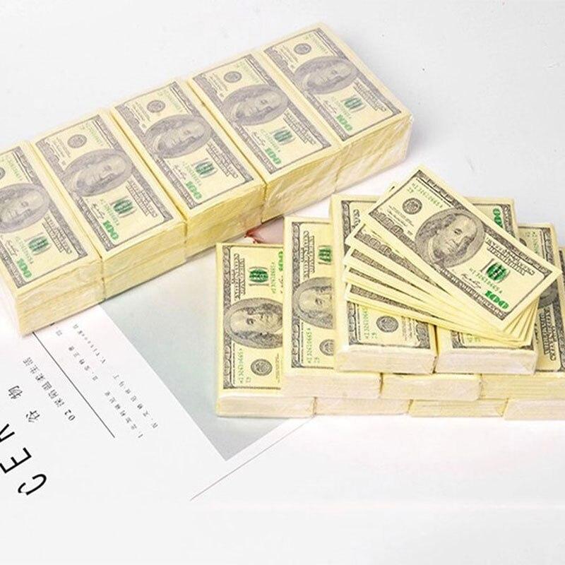 10 Pcs/Set Paper Napkins Thick 3 Layers Creative Dollars Money Printed Toilet Bath Pocket Tissue Paper Party Supplies