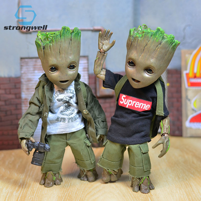 Strongwell Daily Dress Up Baby Groot Doll Figurines Cos Tree Man  Model Toy Marvel Guardians Galaxy Action Figures Kid Film Gift