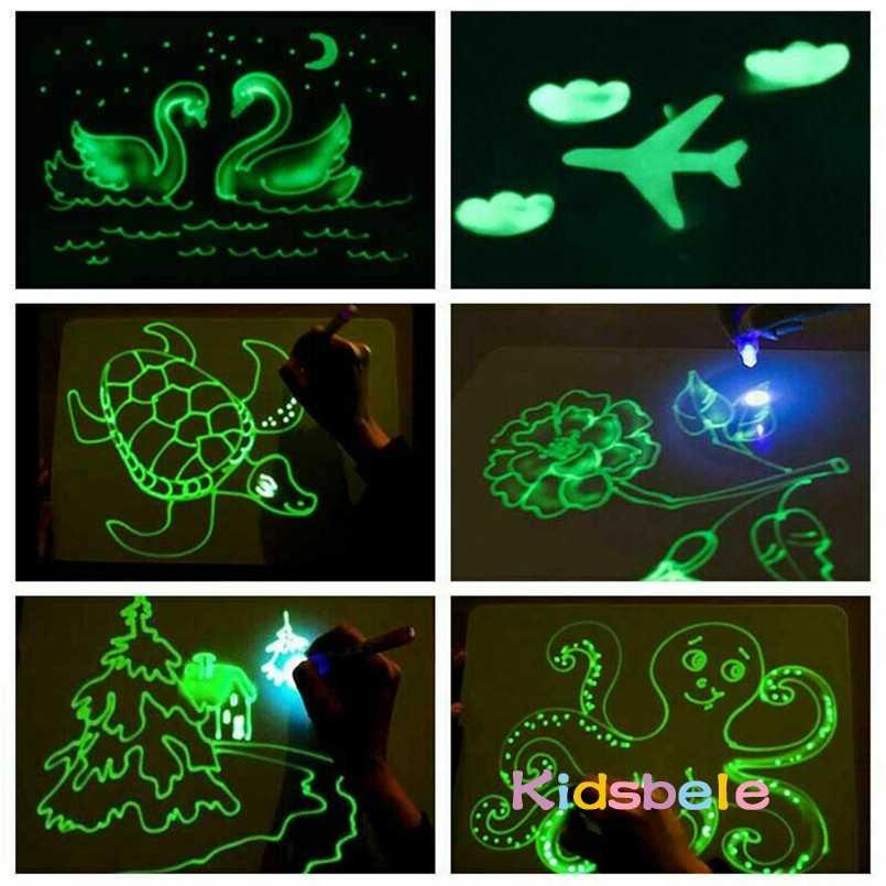 A3 ضوء كبير مضيئة لوحة الرسم الاطفال لعبة اللوحي رسم في السحر الداكن مع ضوء متعة قلم مضيء لعبة تعليمية للأطفال