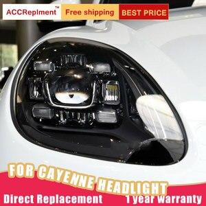Image 2 - Auto Styling für Porsche Cayenne Scheinwerfer 11 14 Neue Cayenne LED Scheinwerfer LED DRL Kopf Lampe LED Abblendlicht hohe Strahl Zubehör