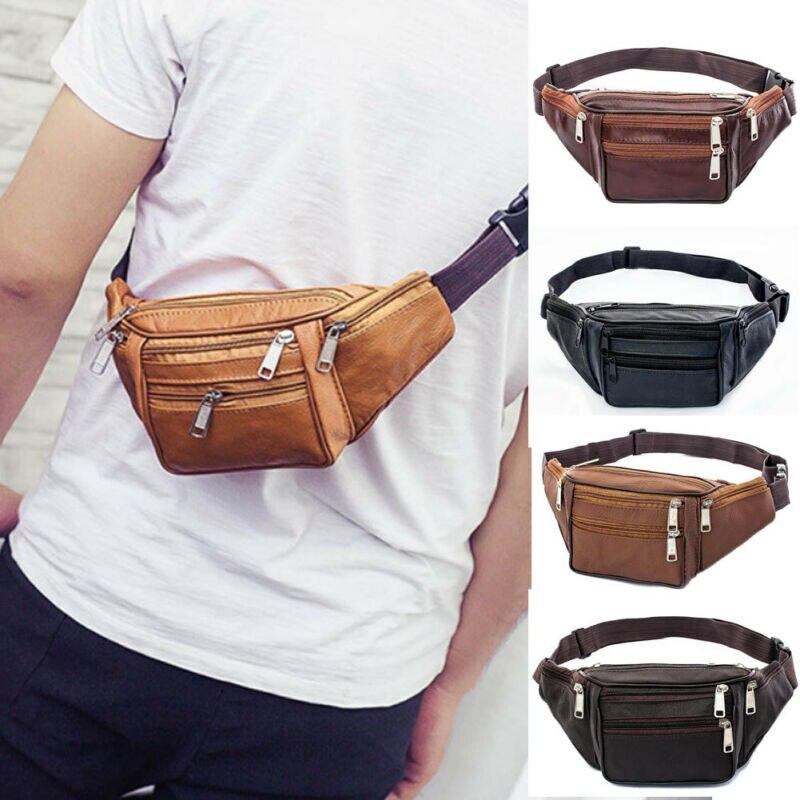 2020 Fashion Large Leather Fanny Pack Mens Waist Belt Bag Womens Purse Hip Pouch Travel Sports Waist Packs