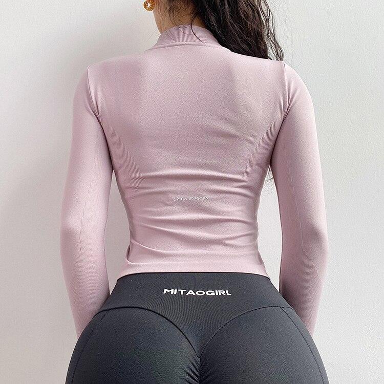 Camisas de treino sem costura mulheres camisas